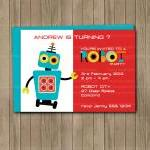 Robot Birthday Party Invite