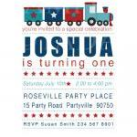 Train Party Invite, Red, Navy and B..