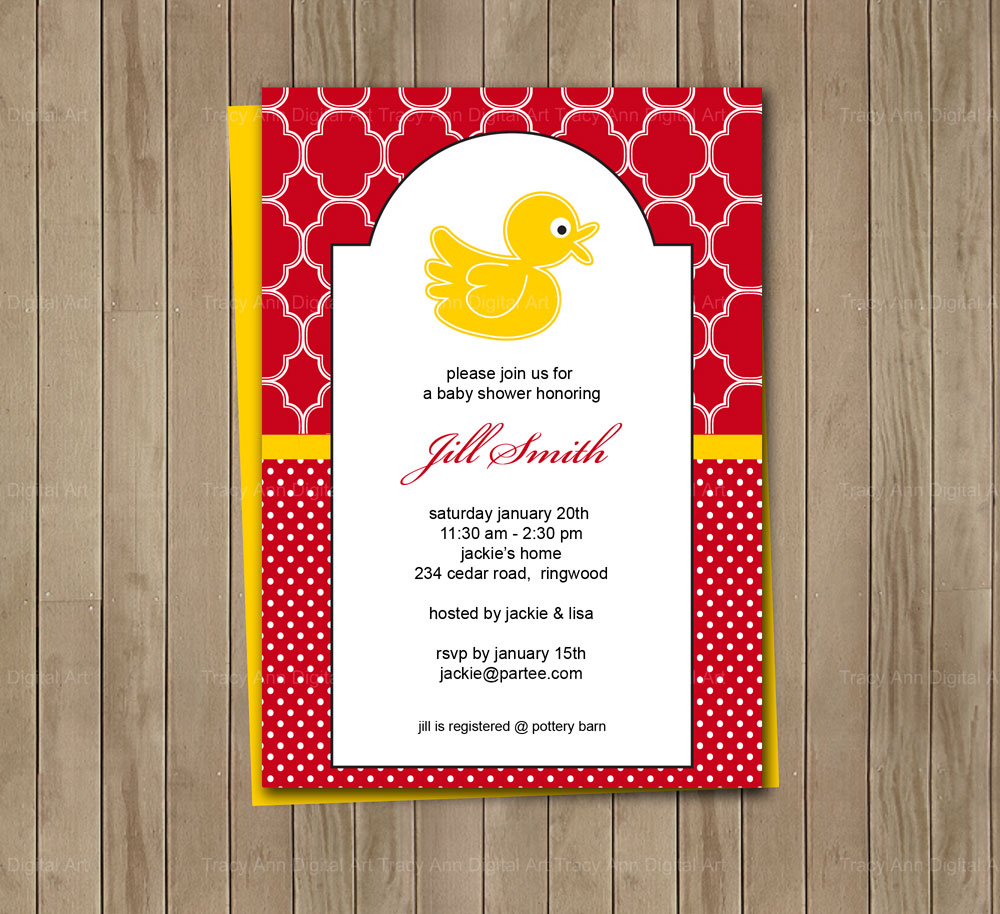 Red And Yellow Duck Printable Baby Shower Birthday Invitation on Luulla