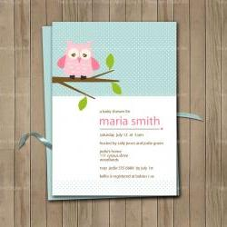 Printable Owl Invite for Baby Shower or Birthday Blue and Pink
